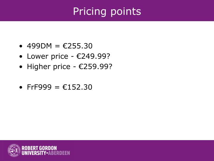 Pricing points