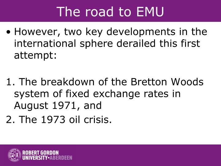 The road to emu1