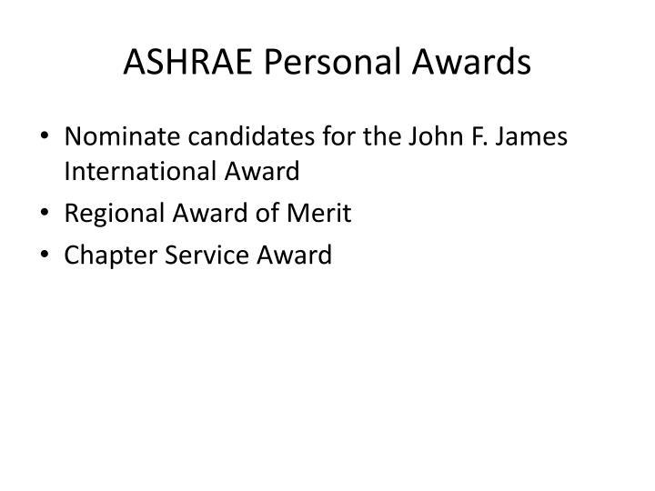 ASHRAE Personal Awards