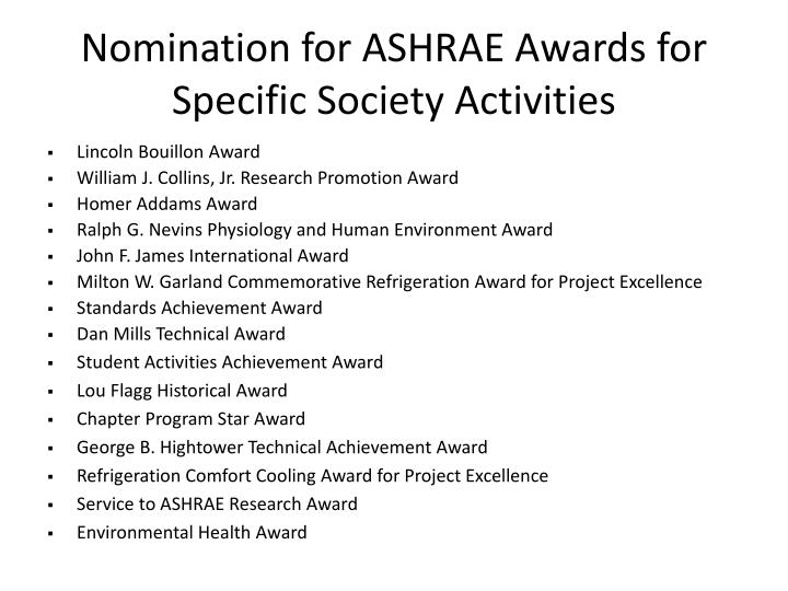 Nomination for ASHRAE Awards for Specific Society Activities