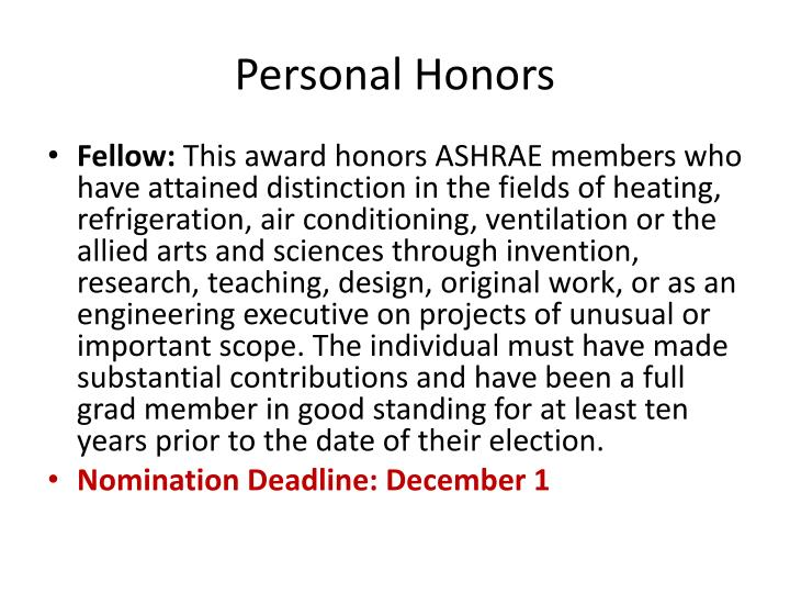 Personal Honors