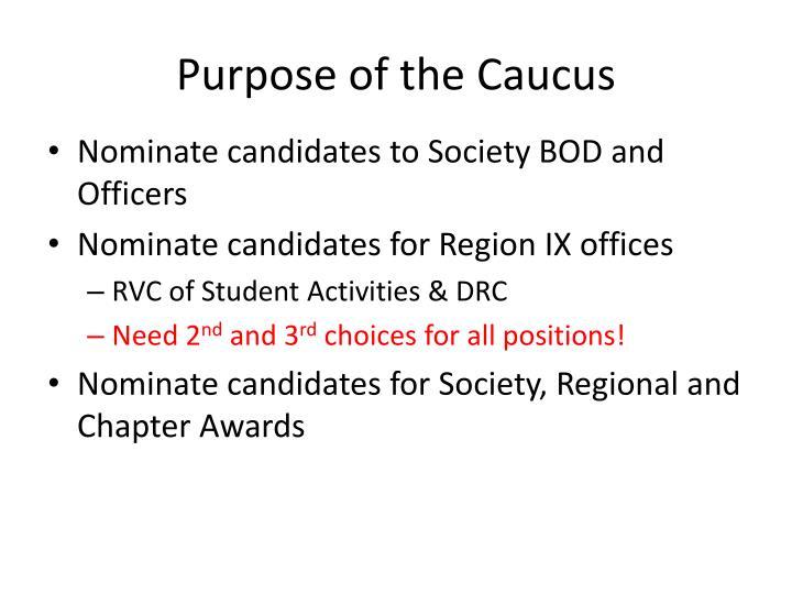 Purpose of the Caucus