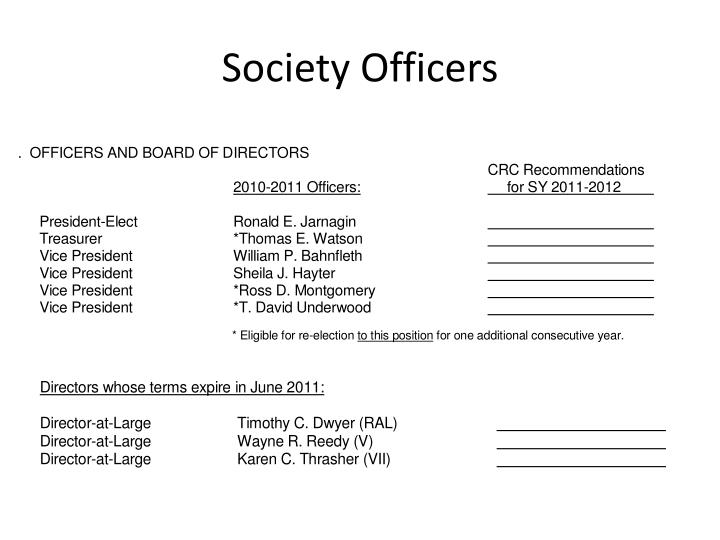 Society Officers