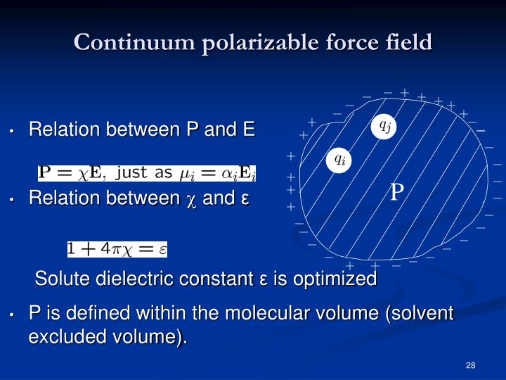 Continuum polarizable force field