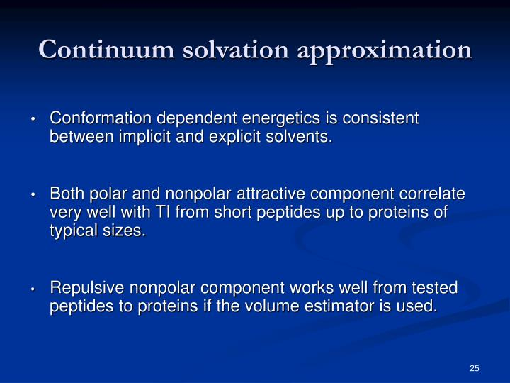 Continuum solvation approximation