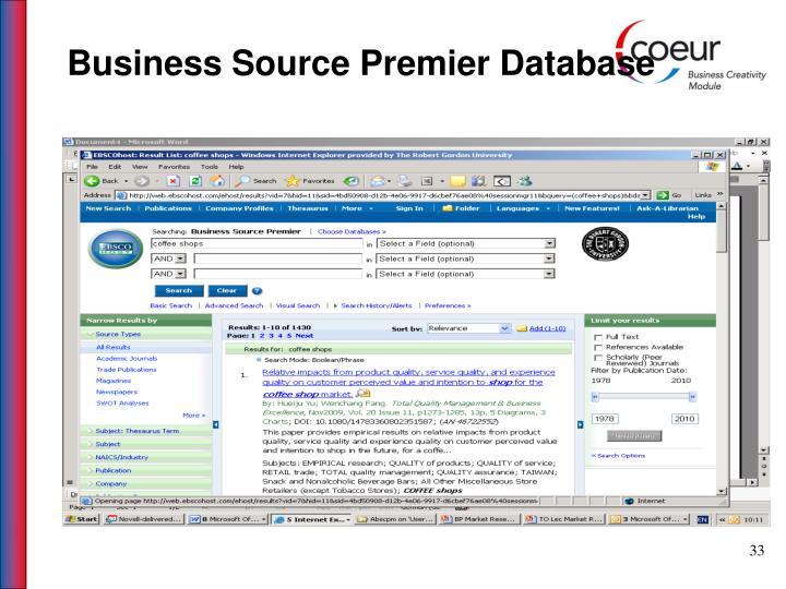 Business Source Premier Database