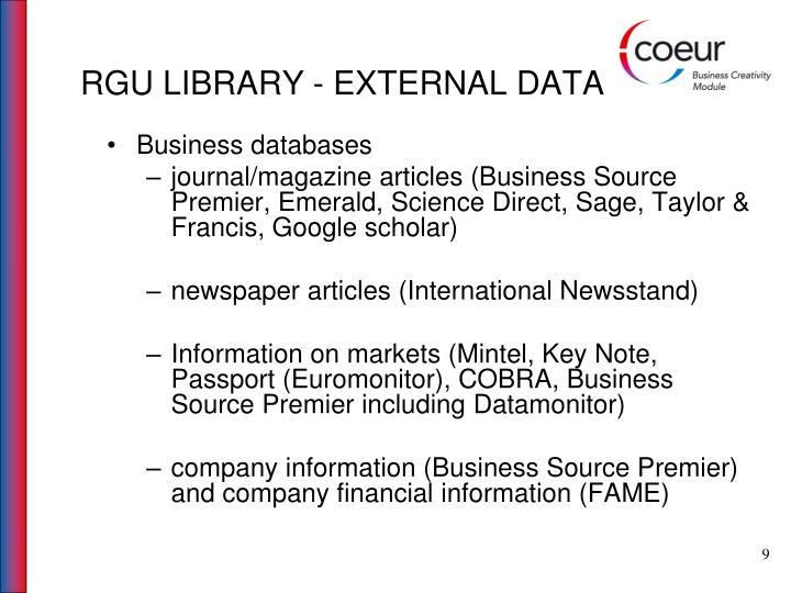 RGU LIBRARY - EXTERNAL DATA