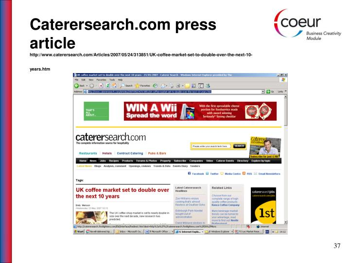 Caterersearch.com press article