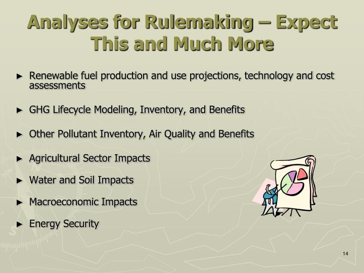 Analyses for Rulemaking – Expect This and Much More