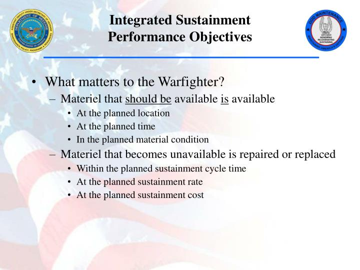 Integrated sustainment performance objectives