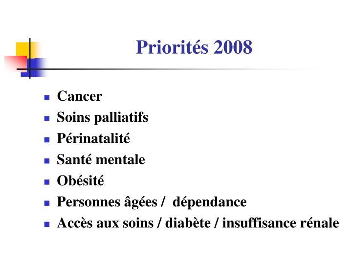Priorités 2008