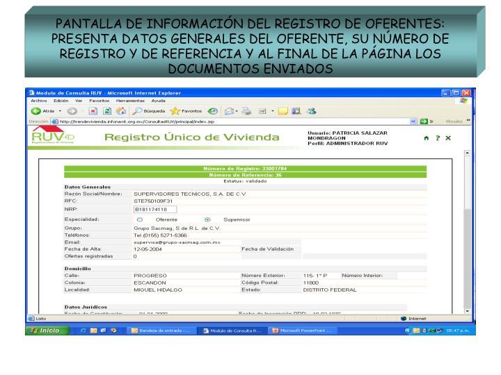 PANTALLA DE INFORMACIÓN DEL REGISTRO DE OFERENTES: