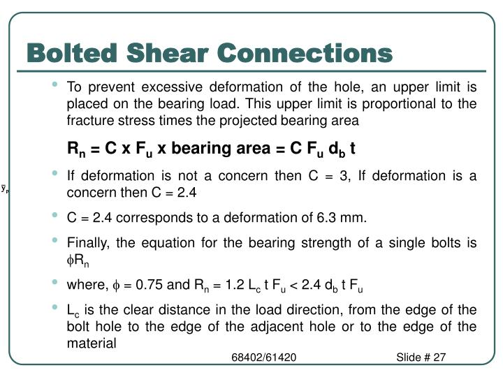 Bolted Shear Connections