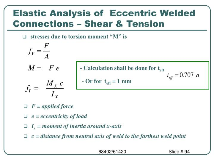Elastic Analysis of  Eccentric Welded Connections – Shear & Tension