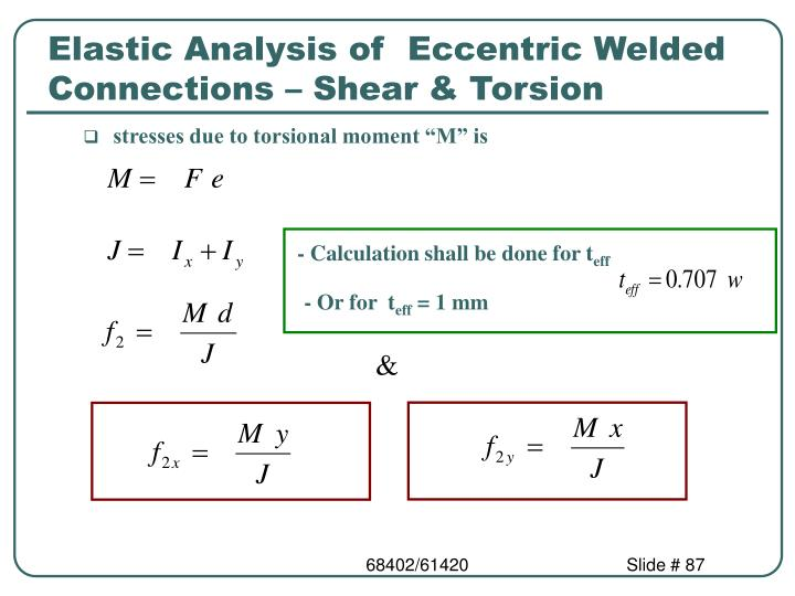 Elastic Analysis of  Eccentric Welded Connections – Shear & Torsion