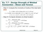 ex 7 7 design strength of welded connection shear and torsion2