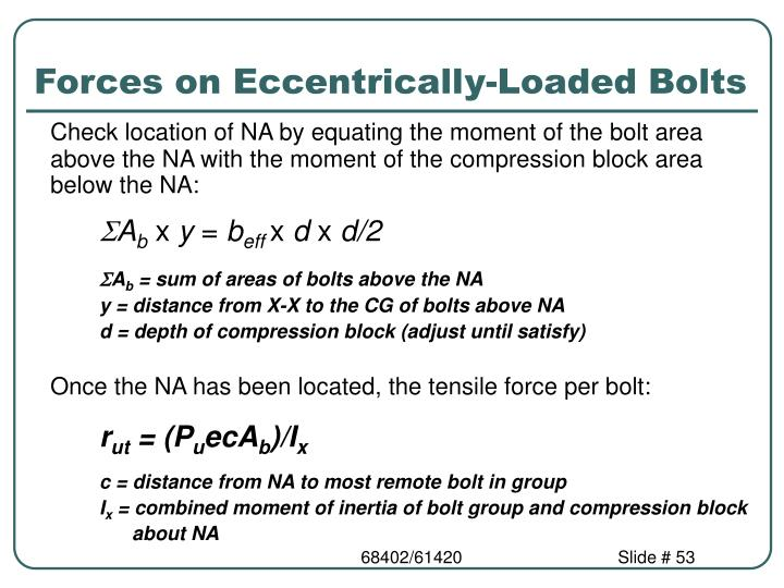 Forces on Eccentrically-Loaded Bolts