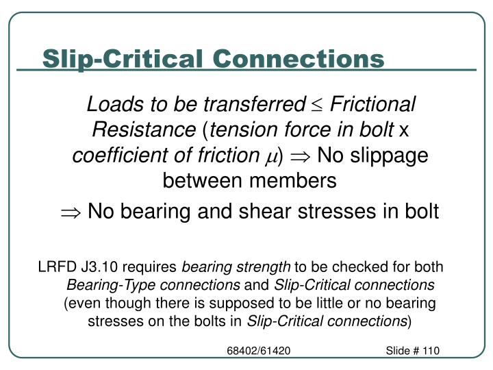 Slip-Critical Connections