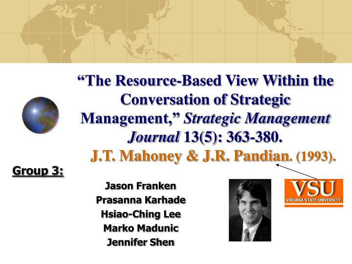 """""""The Resource-Based View Within the Conversation of Strategic Management,"""""""