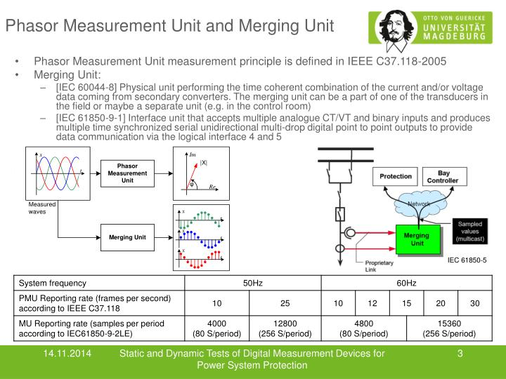 Phasor measurement unit and merging unit