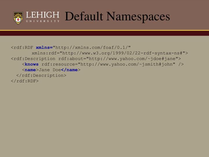 Default Namespaces