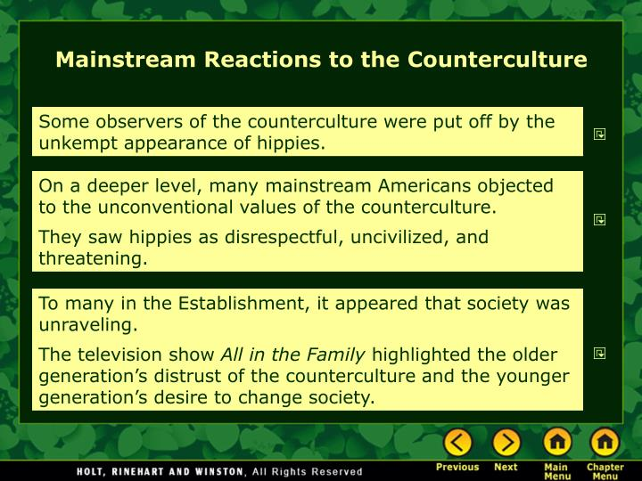 Mainstream Reactions to the Counterculture