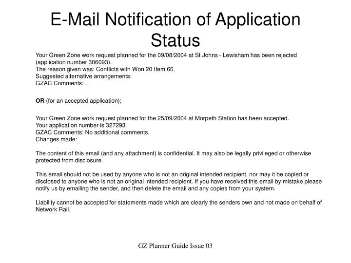 E-Mail Notification of Application Status