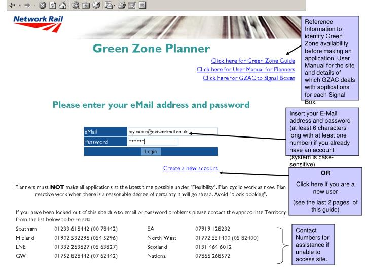 Reference Information to identify Green Zone availability before making an application, User Manual for the site and details of which GZAC deals with applications for each Signal Box.
