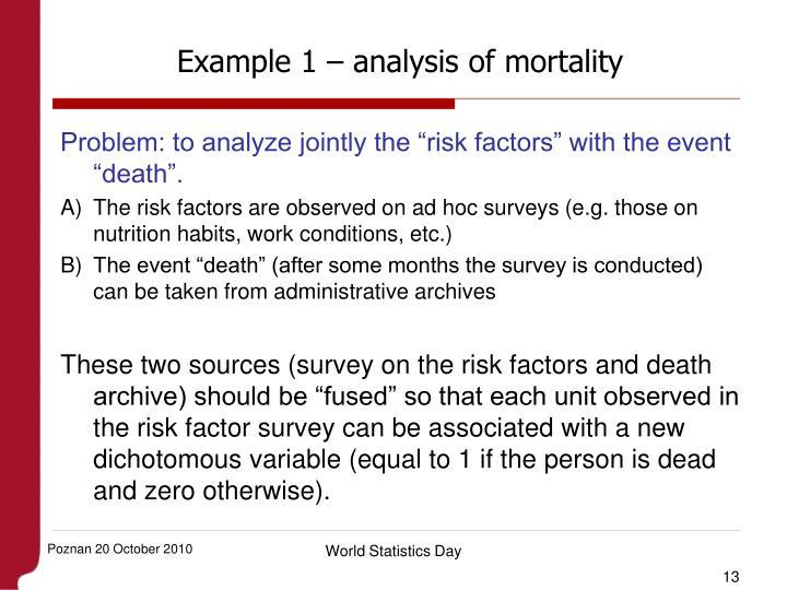 Example 1 – analysis of mortality