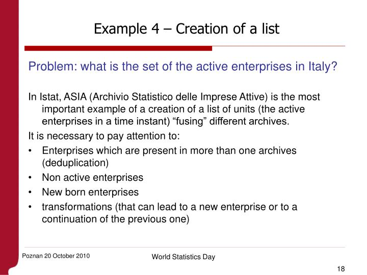 Example 4 – Creation of a list