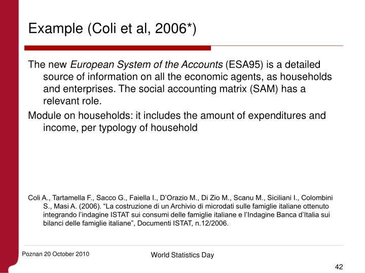 Example (Coli et al, 2006*)