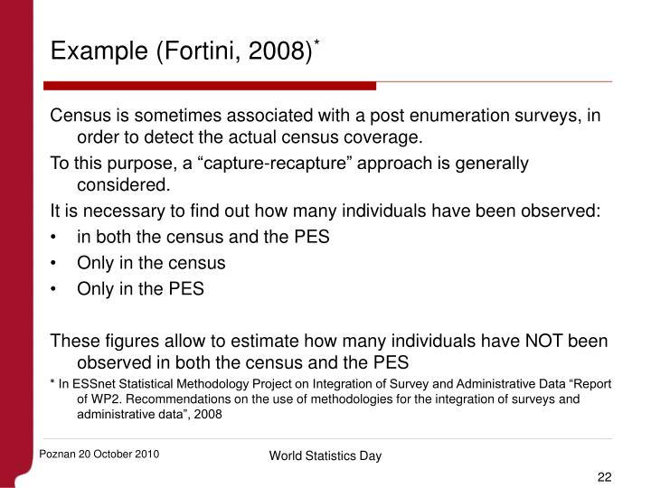 Example (Fortini, 2008)