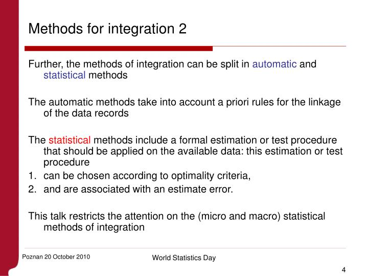Methods for integration 2