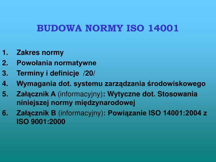 BUDOWA NORMY ISO 14001