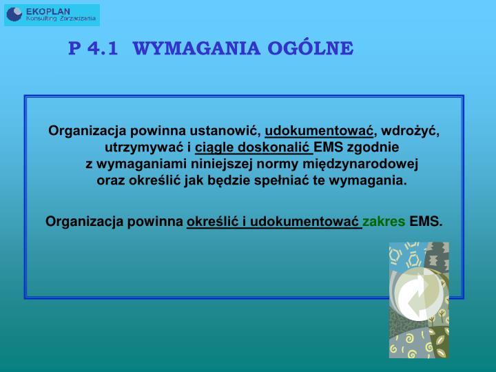 P 4.1  WYMAGANIA OGÓLNE