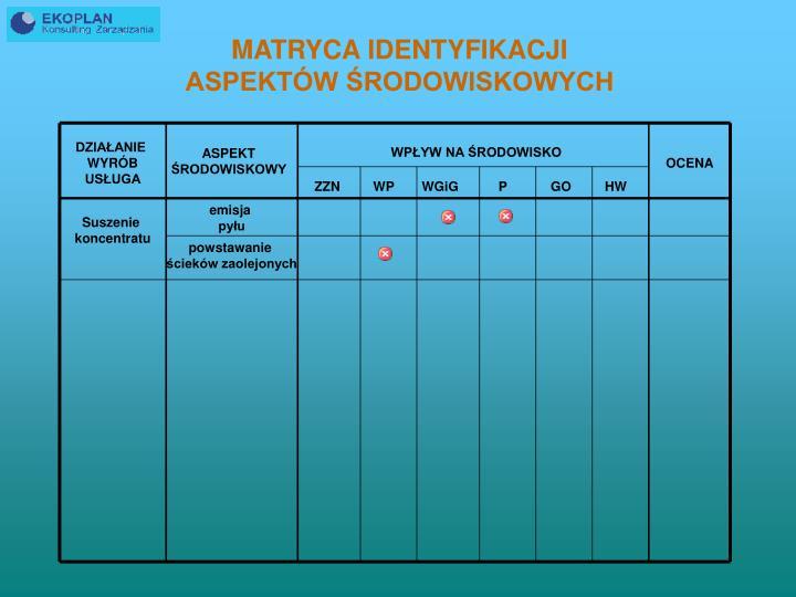 MATRYCA IDENTYFIKACJI                                      ASPEKTÓW ŚRODOWISKOWYCH