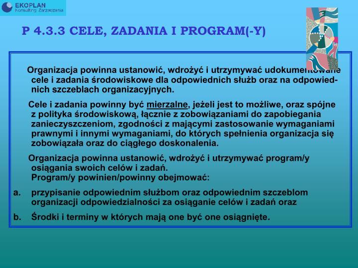 P 4.3.3 CELE, ZADANIA I PROGRAM(-Y)
