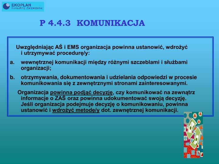 P 4.4.3  KOMUNIKACJA