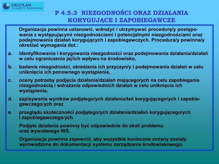 P 4.5.3  NIEZGODNOŚCI ORAZ DZIAŁANIA KORYGUJĄCE I ZAPOBIEGAWCZE
