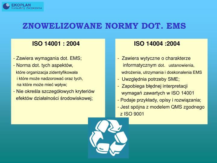 ZNOWELIZOWANE NORMY DOT. EMS