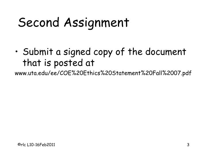 Second Assignment