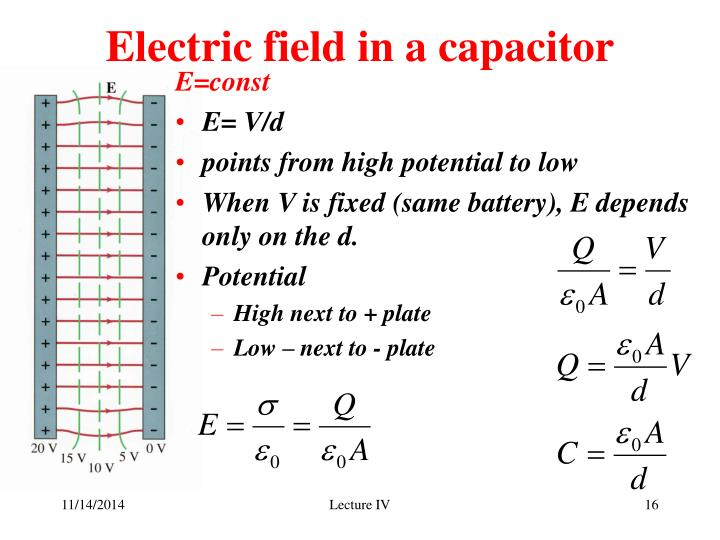 Electric field in a capacitor