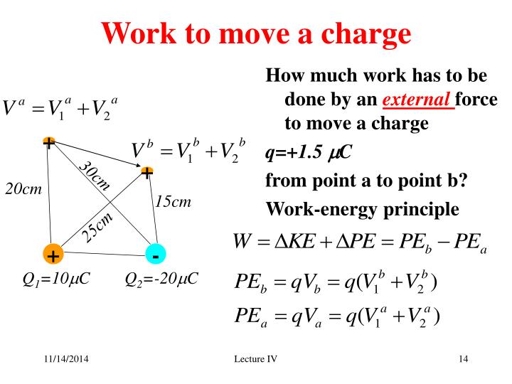 Work to move a charge