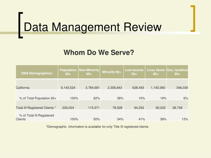 Data Management Review