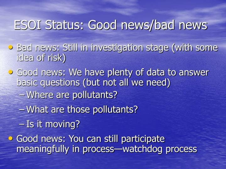 ESOI Status: Good news/bad news