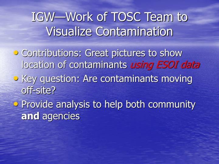 IGW—Work of TOSC Team to Visualize Contamination