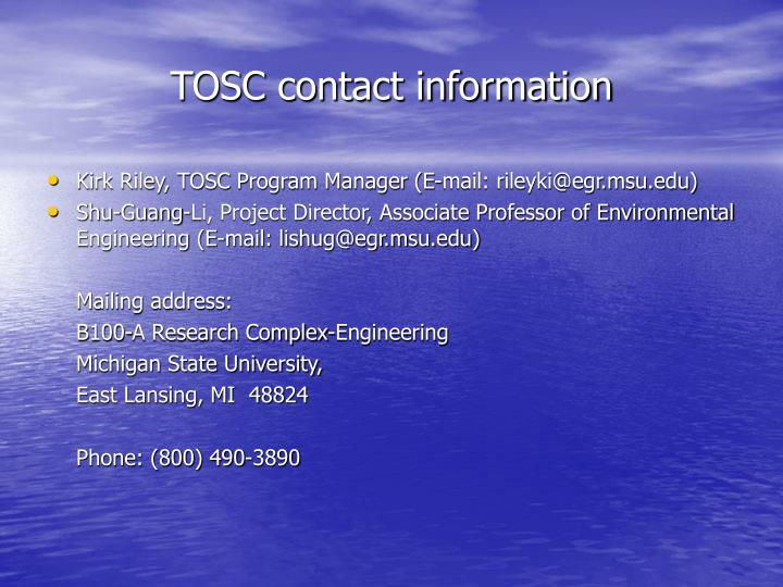 TOSC contact information
