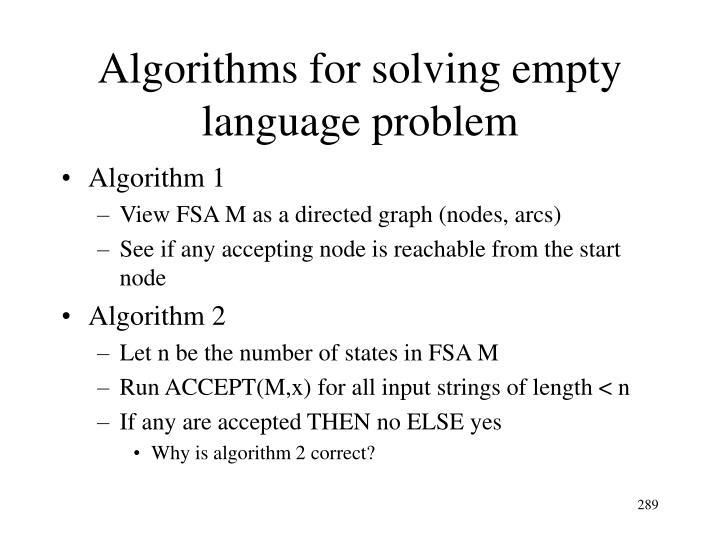 Algorithms for solving empty language problem