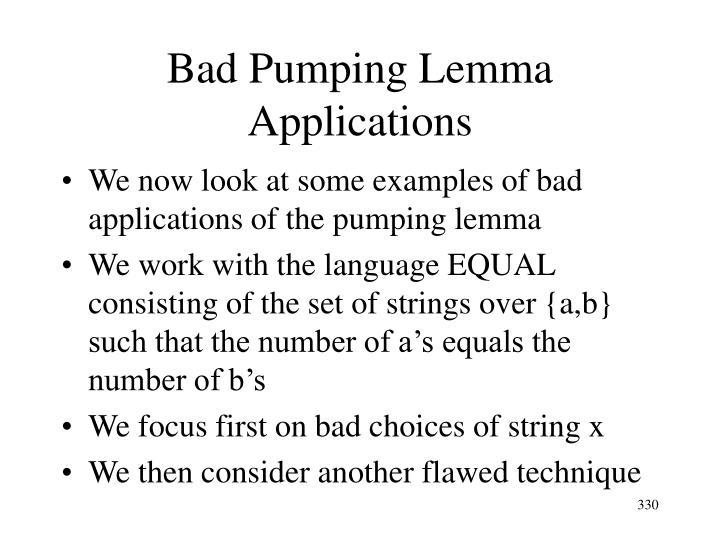 Bad Pumping Lemma Applications