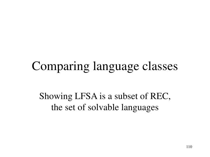 Comparing language classes
